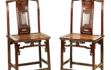 A PAIR OF 18TH CENTURY CHINESE HARDWOOD SIDE CHAIRS