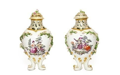 A Pair of Chelsea Gold Anchor Period Porcelain Baluster Vases...