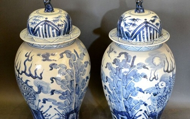 A Pair of Chinese Large Underglaze Blue Decorated Covered Va...