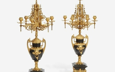 A Pair of Napoleon III Gilt-Bronze and Black Marble