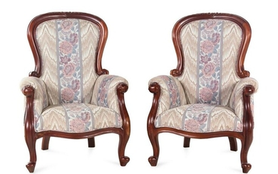 A Pair of Victorian Style Carved Walnut Armchairs