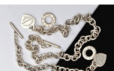 A SILVER 'TIFFANY & CO' NECKLACE AND MATCHING BRACELET, a cu...