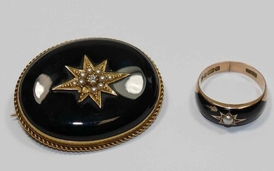 A Victorian 15 carat gold and black onyx set oval mourning b...