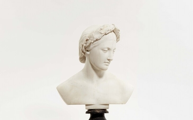 A bust of a young woman in a laurel wreath