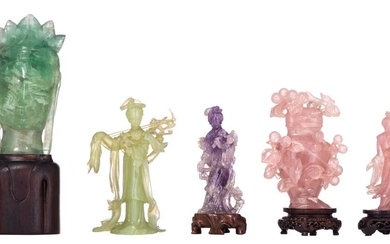 A collection of Chinese semi-precious stone figures, late 19thC - 20thC, H 12,5 - 18 cm