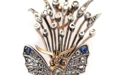 NOT SOLD. A diamond brooch set with numerous diamonds, two sapphires and two rubies, mounted in 14k rose gold and silver. L. app. 4 cm. – Bruun Rasmussen Auctioneers of Fine Art