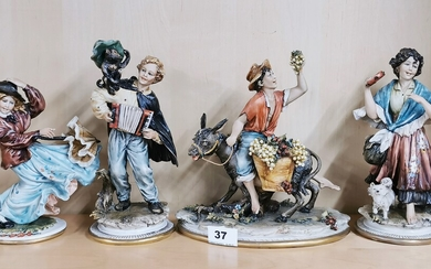 A group of four Capo Di Monte figures, tallest 24cm. Minor finger damage to girl with umbrella and hand repair to the boy on the donkey.