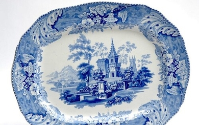 A large 19th Century Minton and Boyle blue and white transfe...