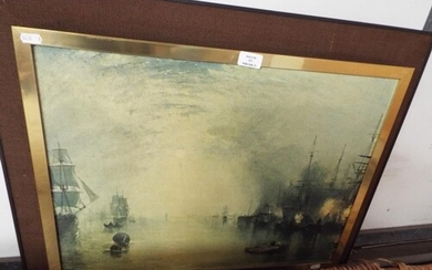 A mounted and framed oil on board titled 'Keelmen Heaving in...