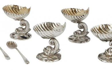 A pair of Victorian silver pedestal salts, London, c.1862, Daniel & Charles Houle, designed as gilded scallop shells raised upon stylised dolphin supports, 5.5cm high, together with a matched pair of white metal salts of similar design, without...