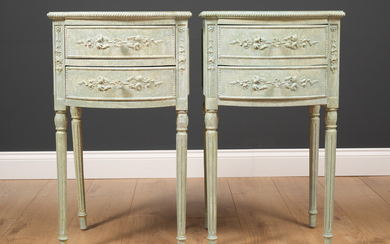 A pair of bow fronted green painted bedside tables