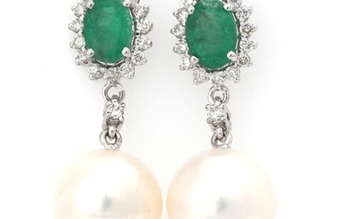 NOT SOLD. A pair of pearl, diamond and emerald ear pendants each set with a...