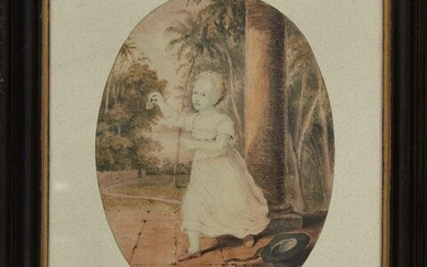 """A portrait of Patrick Francis Campbell Johnston (1802-1892) son of Sir Alexander Johnston (1775-1849), gouache on oval paper, with watermark of 1810 to reverse of portrait and inscription """"Hillerman"""" to reverse, mounted, glazed and framed, portrait..."""