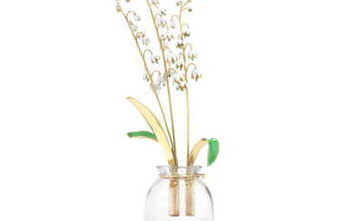 An Italian rock crystal, enamelled and yellow metal ornamental vase of lily of the valley
