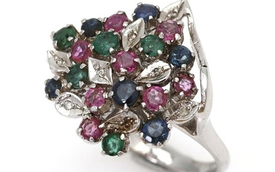 An emerald and ruby ring set with numerous circular-cut emeralds, rubies and sapphires and eight single-cut diamonds, mounted in 8k white gold. Size 54. – Bruun Rasmussen Auctioneers of Fine Art