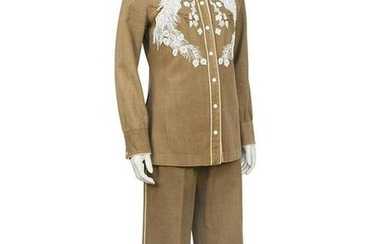 Anonymous Tan Hand Beaded Brushed Denim Cowgirl Set