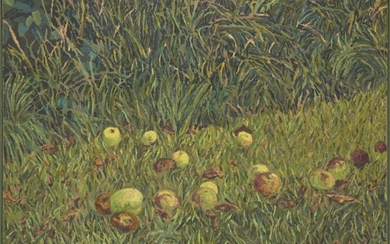Anthony Desmond Amies, British 1945-2000 - Apples in a Field, 1984; oil on canvas, signed and dated lower lower left 'Amies 84', 76 x 91 cm (ARR) Provenance: purchased directly from the artist by the present owner