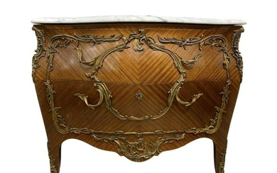 Antique Louis Xv Style Bronze Marble Top Commode