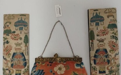 Antique wallet and 2 pieces of embroidery