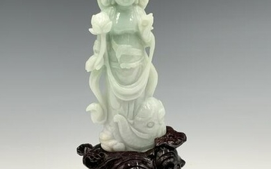 Asian Carved Jadeite Figure of Quan Yin.