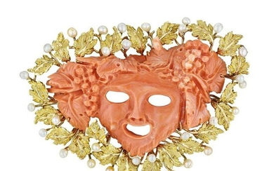 Buccellati Carved Coral Bacchus Head and Seed Pearl