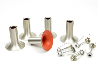 """Ceiling lamps """"Curve"""" (5x), brushed aluminum trumpet shaped lights with..."""