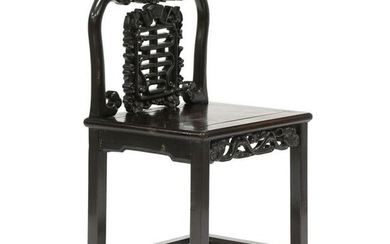 Chinese Carved Hardwood Side Chair
