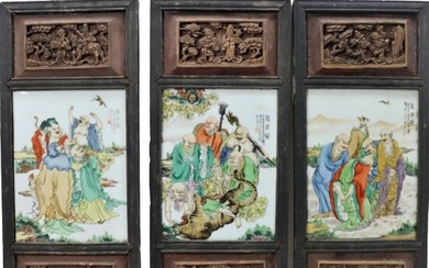 Chinese Set of 3 Paintings on Porcelain, Signed