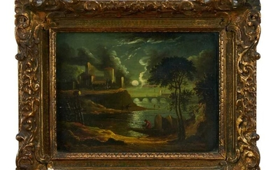 Continental School, early 19th century, pair of oils on panel - moonlit river landscapes, 20.5cm x 27.5cm, in glazed giltwood frames