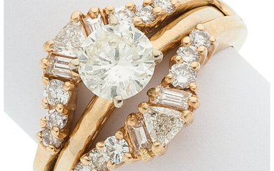 Diamond, Gold Ring The ring features a round brilliant...