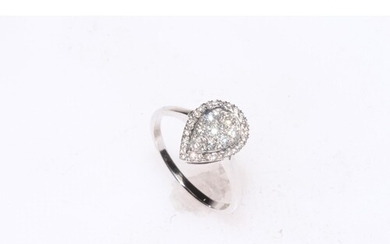 Diamond pear shaped cluster and 18 carat white gold ring, se...