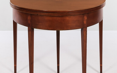 Federal Inlaid Cherry Demilune Table