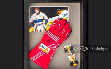 Fernando Alonso Race Worn and Signed Gloves