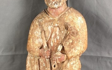 Figure of a saint, probably Peter, softwood, formerly coloured, flattened back, older, woodworm tra