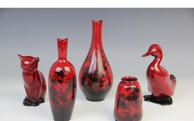 Five pieces of Royal Doulton Flambe ware, comprising: a duck...