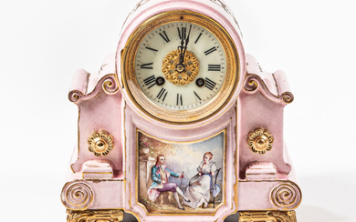 French Paint-decorated Ceramic Mantel Clock