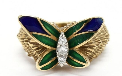 Gold, Enamel, and Diamond Butterfly Motif Ring