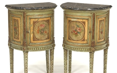 Italian Pair of Hand Painted Demilune Tables with Marble Tops, ca. Mid 20th Century