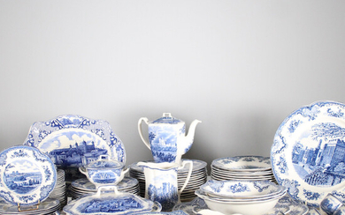 JOHNSON BROS. 'Old Britain Castles', dishes, blue, 118 pieces.