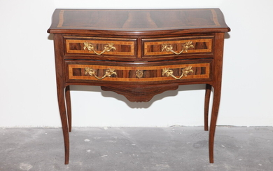 LOUIS XV-STYLE INLAID ROSEWOOD THREE-DRAWER HALL TABLE. Top with serpentine...