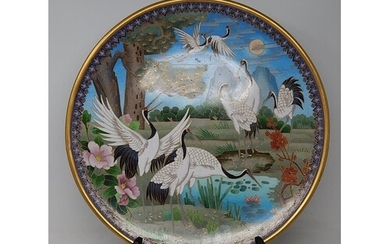 Large Chinese Cloisonne Charger Depicting Herons in a Landsc...