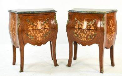 PAIR OF FRENCH MARBLE-TOP MARQUETRY END TABLES