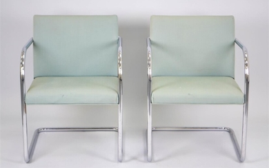 PAIR OF MIES VAN DER ROHE FOR THONET CHROME OPEN ARMCHAIRS, CIRCA 1960