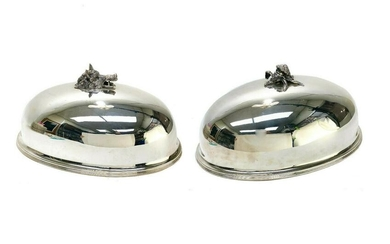 Pair Buccellati Italian Sterling Silver Entree Domes