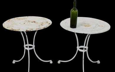 Pair of antique French painted iron garden tables