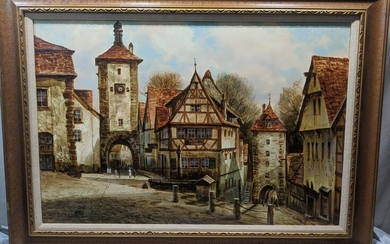 Peter Samberger Large German Street Scene Oil Painting