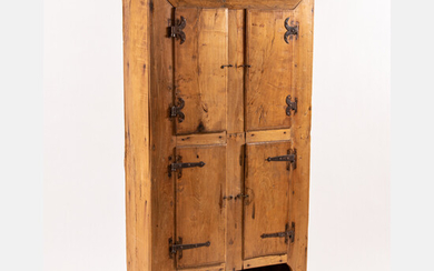 Rustic Pine Four Door Cupboard with Wrought Iron Hinges