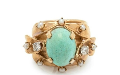 SYNTHETIC TURQUOISE, DIAMOND AND SEED PEARL RING