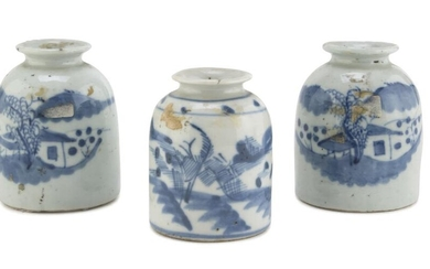 THREE SMALL CHINESE WHITE AND BLUE PORCELAIN JARS LATE 19TH CENTURY.