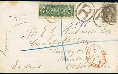 """The Americas Canada Registered Letter Stamps 1892 (13 June) envelope """"registered"""" to Banbury"""